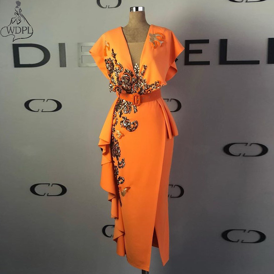 Orange Stretchy Satin Tea Length Prom Dresses Sheath V Neck Ruffles Arabic Women Formal Party Wear with Sequined Lace Aplliques