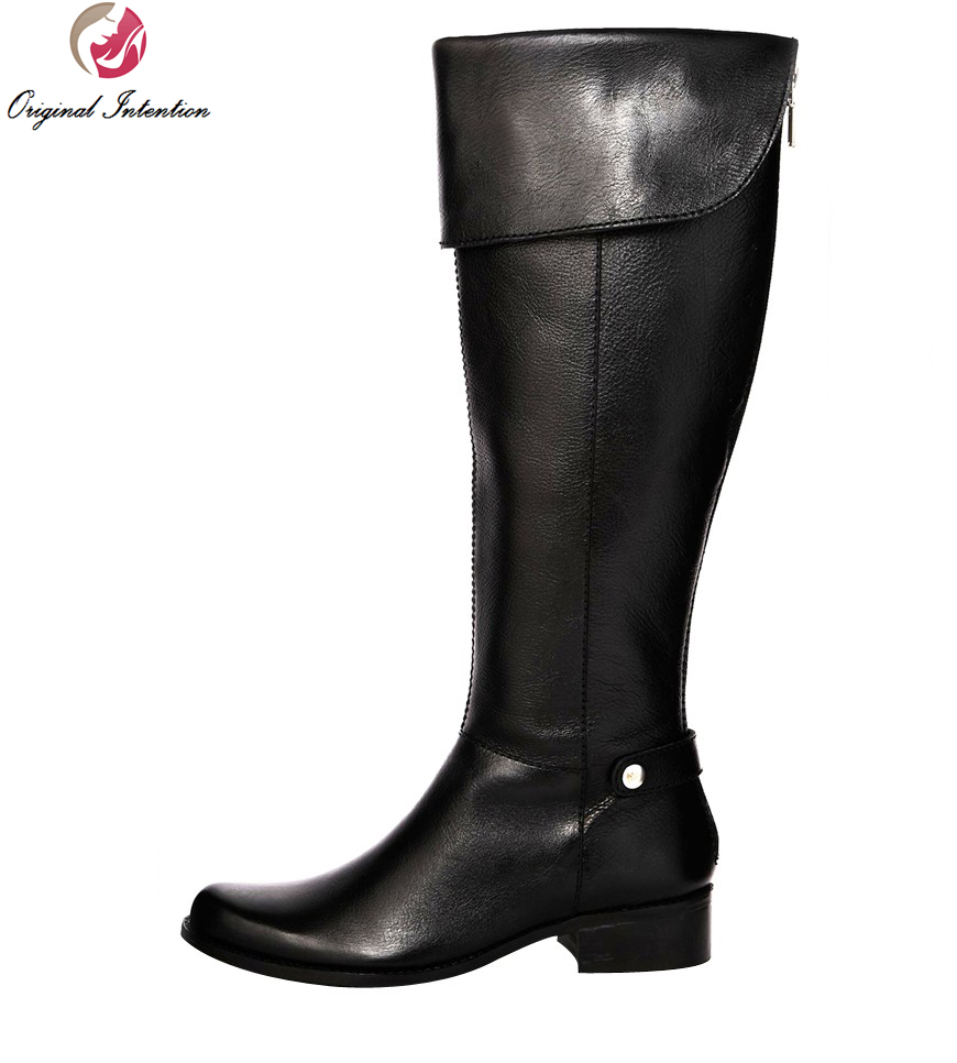 Original Intention High-quality Women Mid-Calf Boots Round Toe Square Heels Popular Boots Shoes Woman Plus Size 4-15 popular high quality full grain leather mid calf boots size 40 41 42 43 44 solid zipper design round toe boots