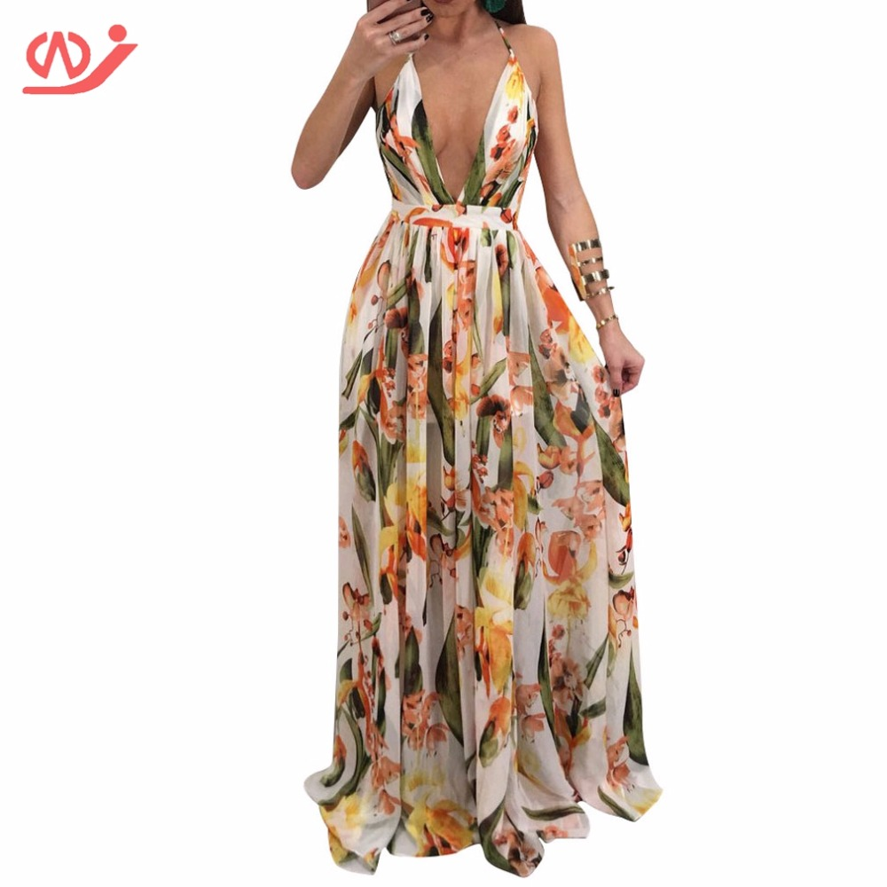 Summer Sleeveless V-Neck Floral Printed Casual Loose Maxi Dress for Women