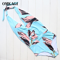 OMKAGI Brand New Design Sexy Blue Backless Leaf Deep V Women One Piece Swimsuit Push Up