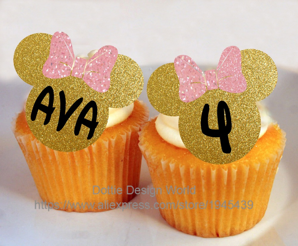 24 Gold Glitter Minnie Mouse Edible Cake Topper Wafer Rice Paper Cake  Cookie Cupcake Toppers Birthday