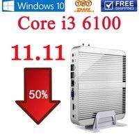 Mini-pc Core i3 6100U HD Graphics 520 2.30 Dual Core PC Gaming HTPC 4 K HDMI TV Ventilateur DDR4 300 M WiFi Windows 10 Sans 11.11