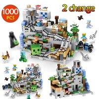 1000pcs My World Mechanism Cave Building Blocks LegoINGLYS Minecrafted Aminal Alex Action Figures Brick Toys For Children