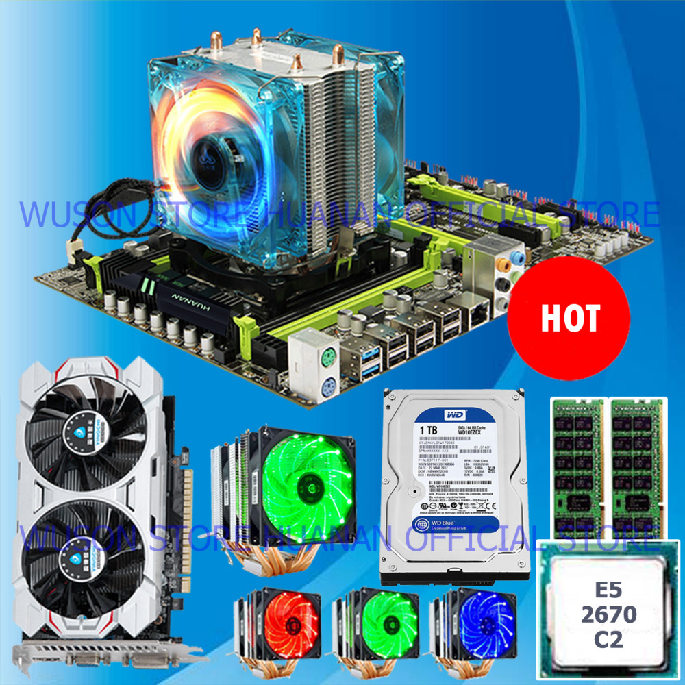 HOT! HUANAN X79 mainboard CPU <font><b>Xeon</b></font> <font><b>E5</b></font> <font><b>2670</b></font> C2 with 6 heatpipes cooler RAM 16G(2*8G) DDR3 RECC 1TB 3.5' SATA HDD GTX750Ti 2GD5 VC image