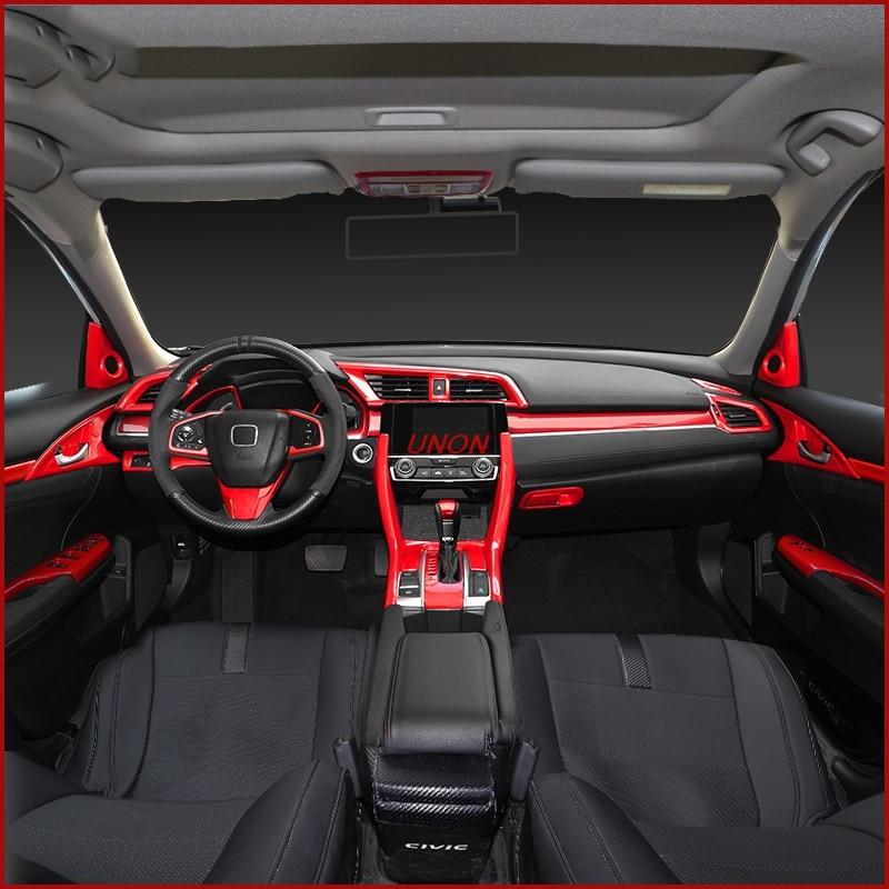 Civic Sedan Interior: Red Car Interior Full Mouldings Trim Shift Gear Sticker