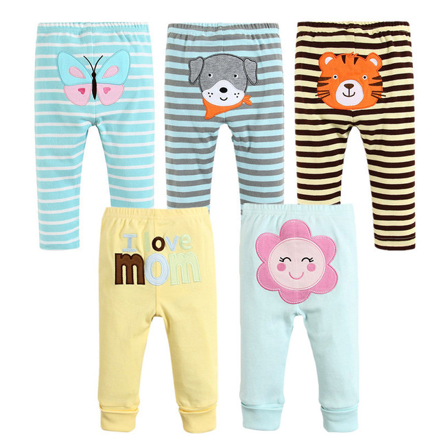 a0fe84f50a11f 5pcs/lot 100% Cotton Baby Pants Spring Baby Girl Clothes Autumn Baby  Leggings Infant Baby Boy Trousers Newborn Bebes Cloting Set