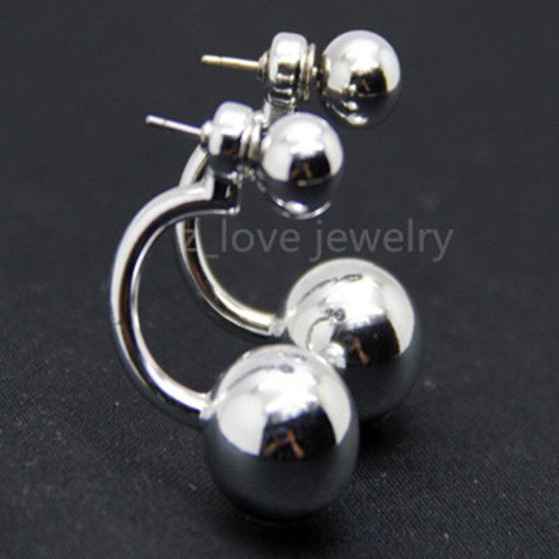 Or blanc 18ct EARING boucle d/'oreille dos rouleaux paire avec de 7mm en forme de dôme disque
