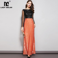Lady Milan Womens Evening Party Prom Slash Neckline Long Sleeves Appliques Sequined Patchwork Maxi Elegant Dresses