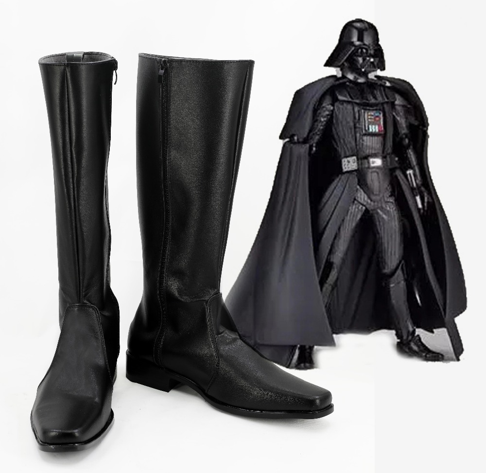Star Wars Darth Vader Anakin Skywalker Boots Cosplay Halloween Darth Vader Cosplay Black Shoes for Men and Women
