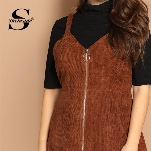 Sheinside Brown Plus Size O-ring Zip Front Corduroy Pinafore Women Dress Casual Sleeveless Ladies Dresses 2019 Fall A Line Dress 3