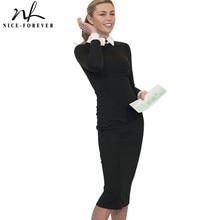 Хорошее-forever Карьера Женщины Осень Turn-Down Воротник подходит для работы платье Винтаж Элегантный бизнес офисный миди комбинезон-карандаш платье 751