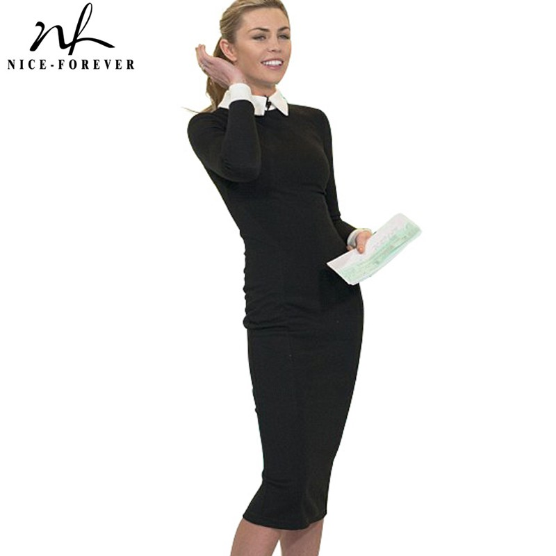 Nice-forever Carrière Vrouwen Herfst Turn-down Kraag Fit Work Jurk Vintage Elegant Business office Pencil bodycon Midi Jurk 751
