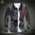 Супер Большой Размер Цветочные Camisa Masculina 7XL 6XL Brand Clothing Slim Fit Мужчины Цветок Рубашка Гавайская Рубашка С Длинным Рукавом 2017 новый