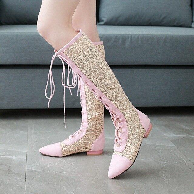 S. Romantizm 2018 Kadın Çizmeler Kare Topuklu Ayak Bileği Çizmeler Ofis Bayanlar Yaz Çizmeler Kadın Ayakkabı Kadın Beyaz Bej Pembe siyah SB049