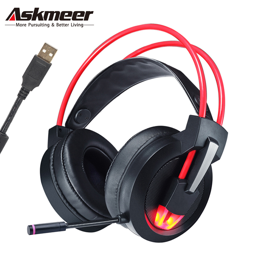 Askmeer USB Stereo Gaming Headset 7.1 Surround Sound with Microphone Led Light Big Earmuff Game Headphones for Computer PC Gamer askmeer v16 usb professional stereo gaming headphones with microphones led light big earmuff pc gamer game headset for computer