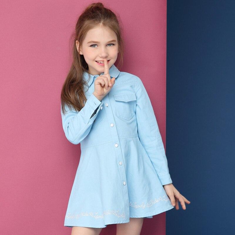 Children's Dress Girls Dress 2018 Autumn New China Boy Long Cotton Shirt Korean Edition Fashion pocket front shirt dress
