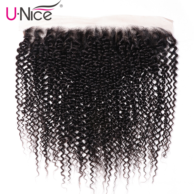 Unice Hair Brazilian Lace Curly Human Pre-Plucked Kinky Remy 13x4 with 100-% Ear-To-Ear