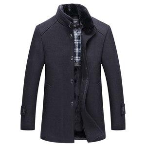Image 5 - סתיו חורף גברים של צמר מעיל חדש אופנה צווארון עומד חם חושב מעיל מעיל מוצק שחור מזדמן צמר תעלת מעילי גברים