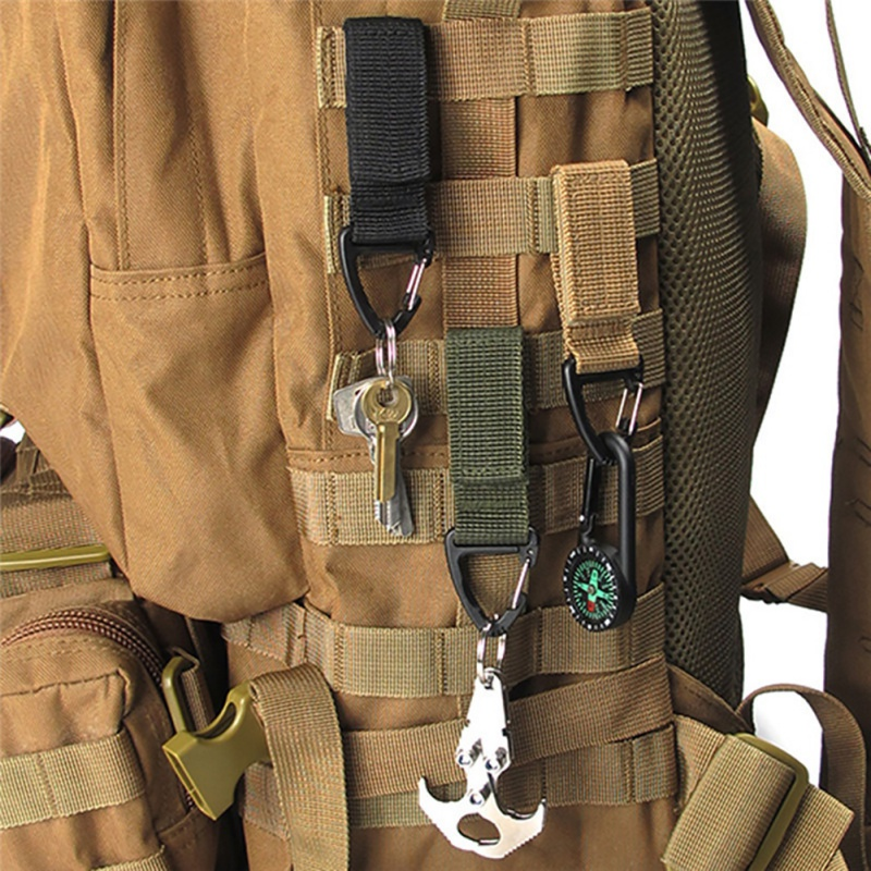 Triangle Carabiner Tactical Backpack Nylon Key Hook Webbing Buckle Hanging System Molle Waist Belt Buckle Outdoor Tools