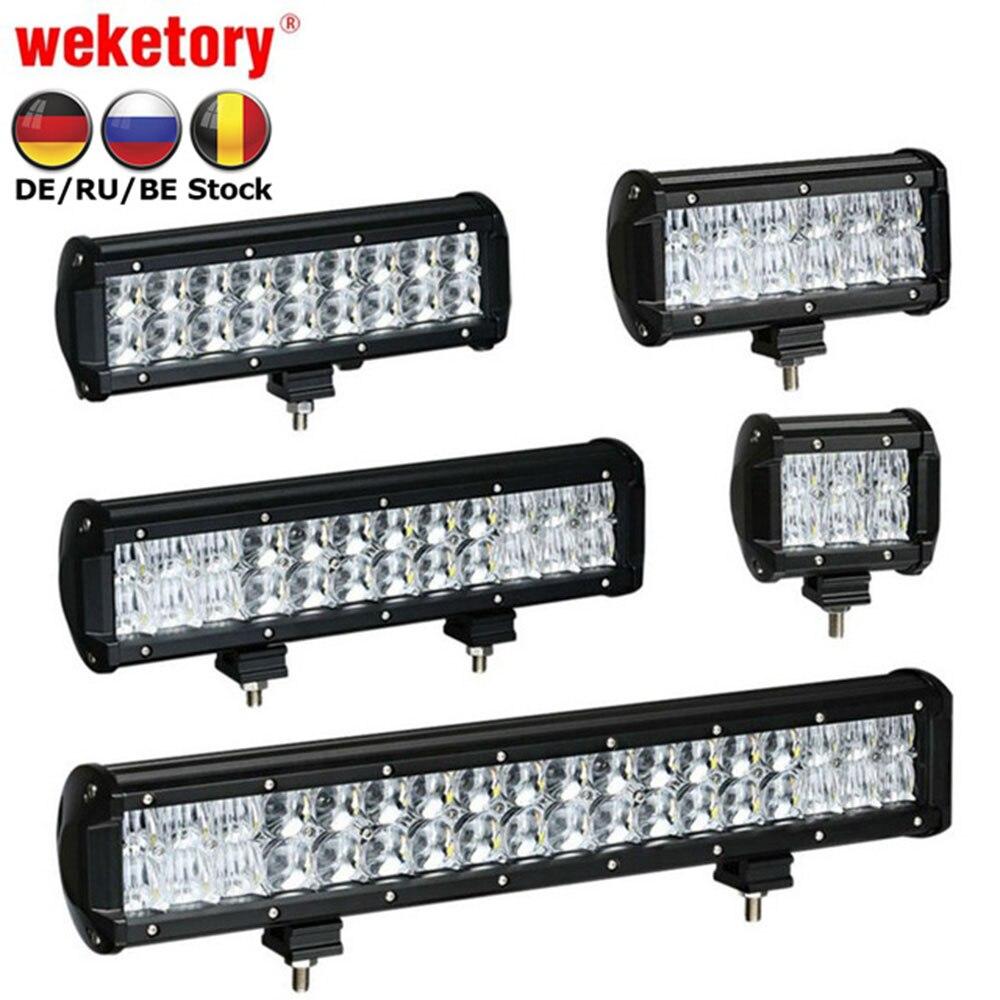 Weketory 4 6,5 4 9,3 12 17 pulgadas 30 W 60 W 90 W 120 W 180 W 5D LED Barra de luz de trabajo para Tractor Boat OffRoad 4WD 4x4 camión SUV ATV 12 V 24 V