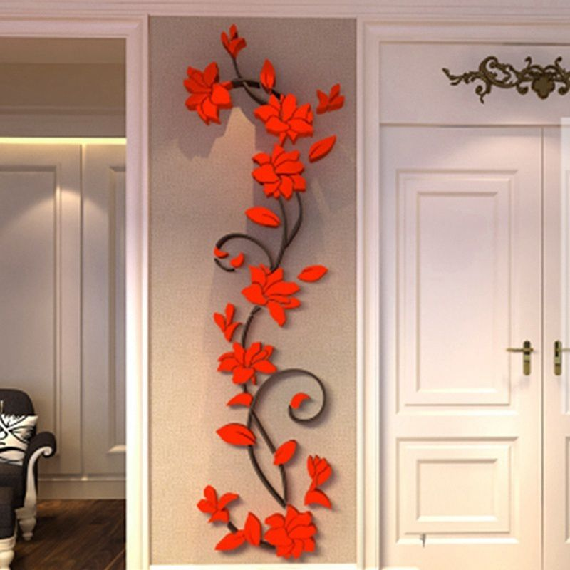 FUHO Fashion Chinese Classic Style DIY Decal Home Room Removable Acrylic 3D Rose Flower Vine Wall Sticker Art, Red 24*802cm