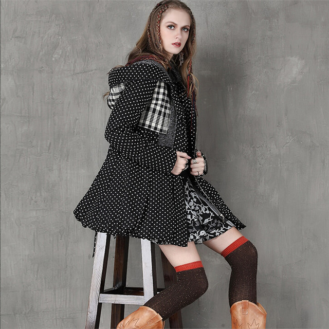 Vintage Thick Winter Women Hooded Coat 80% Cotton Polka Dot Patchwork Thicken Women Coats Warm Cotton Parka Linen Jacket Women
