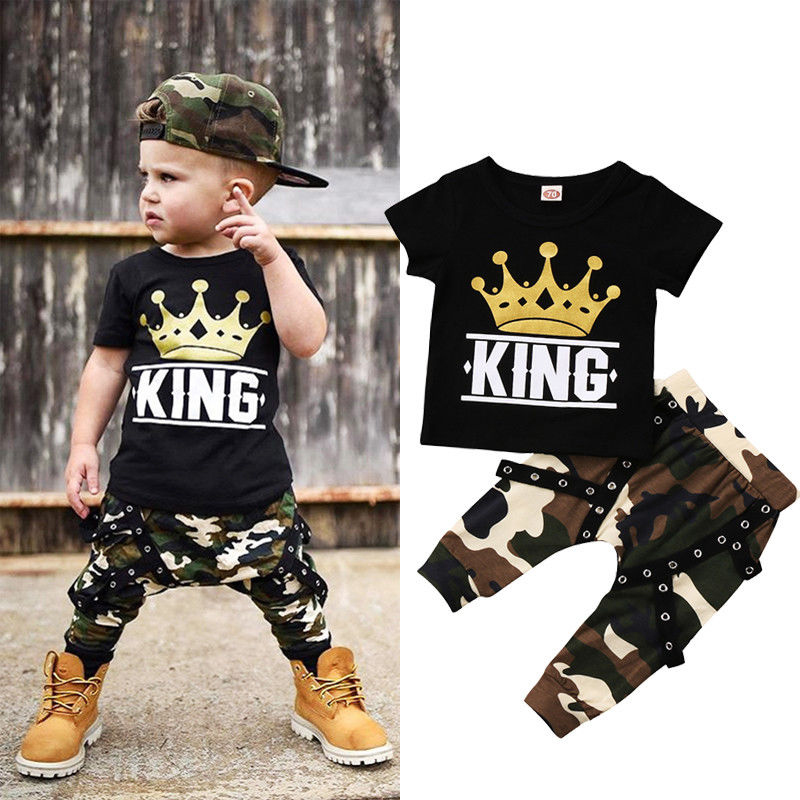 New Fashion Casual Toddler Kids Baby Boys Clothes Short Sleeve Tops T-shirt Camo Pants 2PCS Outfits Set