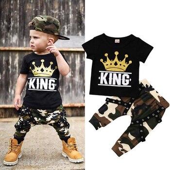 Nowa moda na co dzień maluch dzieci ubrania dla dzieci chłopcy z krótkim rękawem topy T-shirt spodnie kamuflażowe 2 sztuk stroje zestaw