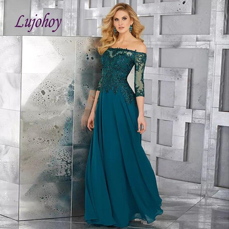 Manches longues dentelle mère de la mariée robes de grande taille pour les mariages marraine marié robes de dîner robes