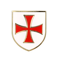 Masonik Mason Freemason Lapel Pin Christian Army Crusader Knights Templar Palang Merah Putih Perisai Pin dan Lencana Bros(China)