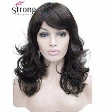 Strong beauty perruque synthétique complète ondulée mi longue marron foncé, perruque pour femmes, couleur au choix