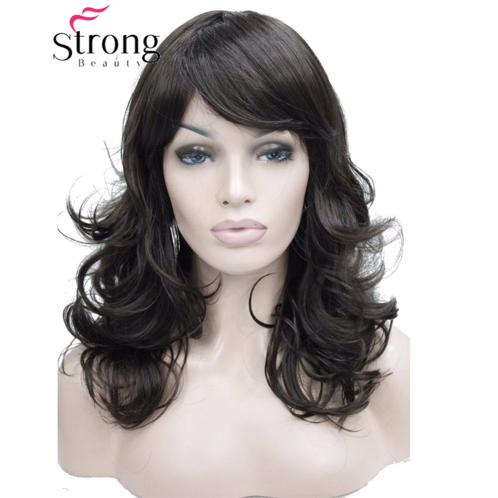 StrongBeauty Medium Length Wavy Dark Brown Full Synthetic Wig Women's Wigs COLOUR CHOICES