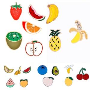 Фруктовая эмалированная брошь с арбузом, апельсиновый киви ананас, банан, значок, персиковая голубика, броши авокадо
