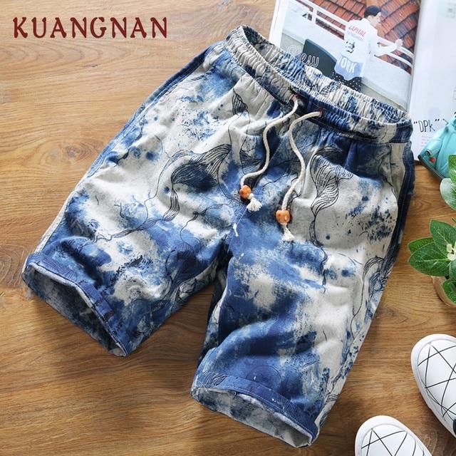KUANGNAN Summer Shorts Men Cotton Linen Men Shorts Print Casual Short Men Drawstring Mid Regular Regular 2018 Chinese Style 3