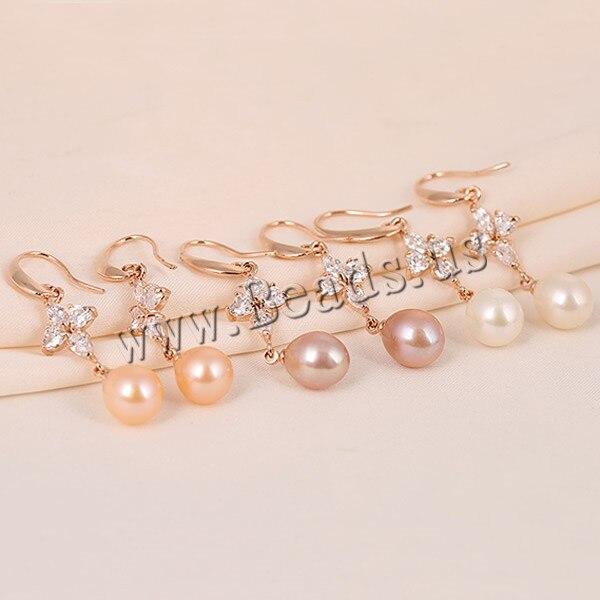 06f9f21f9153 Perlas de agua dulce pendientes de corea con rose gold circonita colores  mezclados 9 mm 2