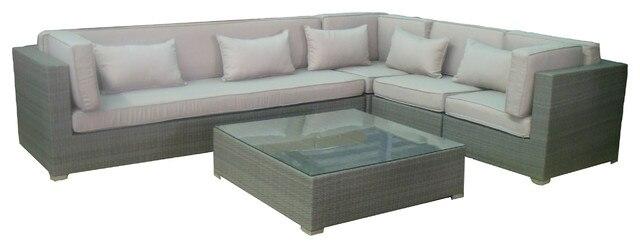 2017 Clic Home Furniture Aluminium Frame Outdoor Rattan L Shape Lounge Set