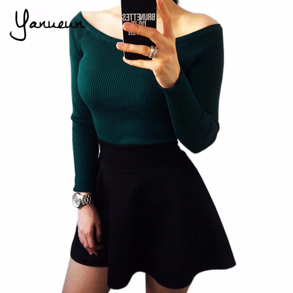 Yanueun 2017 Otoño Invierno suéter de las mujeres básicas slit escote strapless suéter espesamiento suéter hombro pullover Suéteres