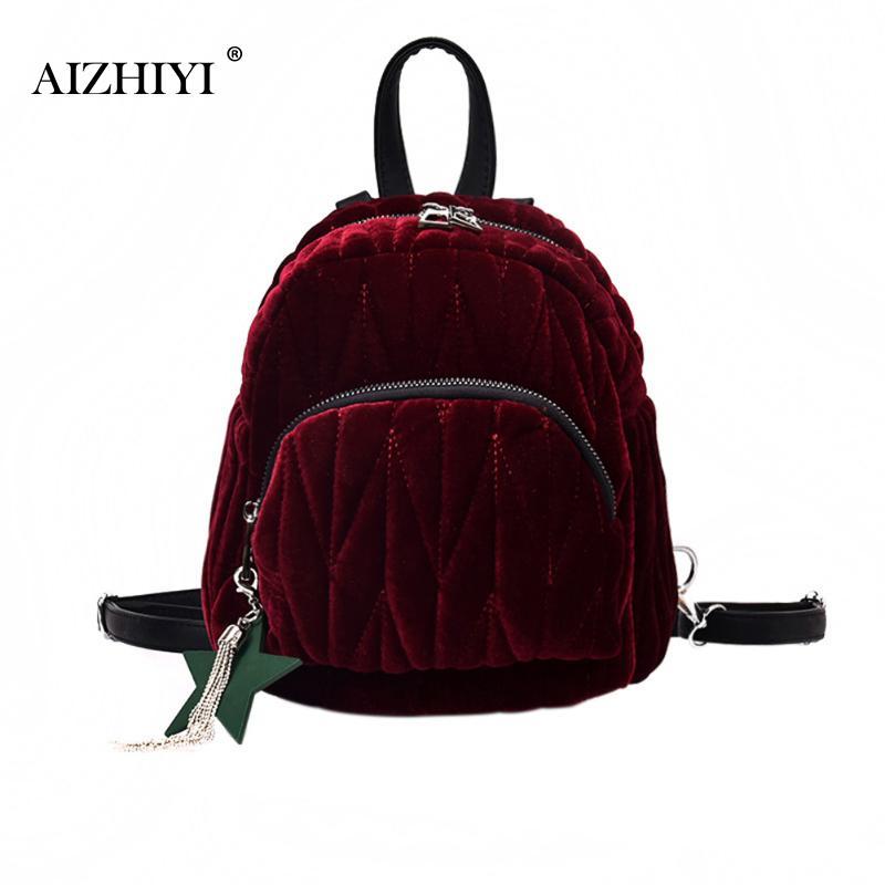 все цены на Fashion Women Velvet Backpack Designer High Quality Female Backpack Female Casual Style Travel School Bag For Teenage Girls New онлайн