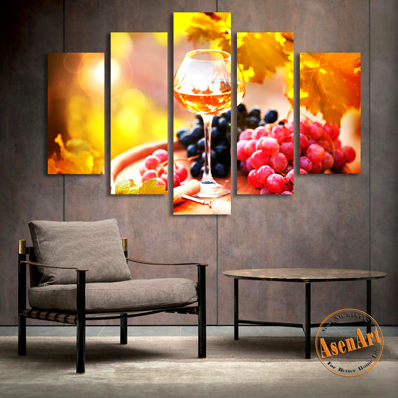 Online get cheap grapes wine alibaba group for Canvas painting for dining room