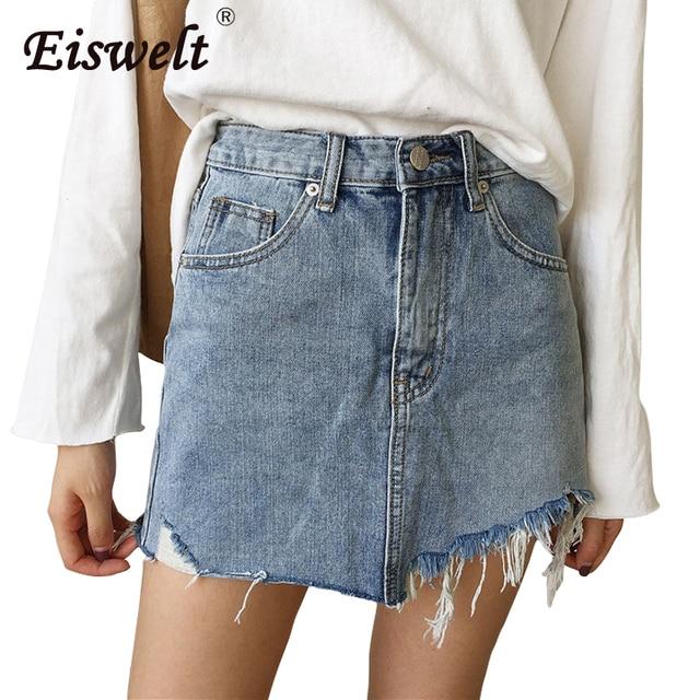 0ca9ea0832ba Летние джинсы женская юбка с высокой талией Jupe неровные края джинсовые  юбки ...