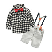 retail 2-8y boy 2017 New cotton spring children boys autumn spring 2pcs clothing set suit baby shirt+pants sets plaid overalls