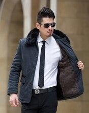 Мужчины Повседневная Толстые Кнопки Куртка Большой Размер XL-5XL Свободные Зима пальто Со Съемным Меховым Воротником На Молнии Флис Куртка Мужчины Серый K263