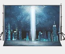 150x220cm Amazing Night View Backdrop Science Fiction Scene Background Navy Blue UFO Photography Studio Props