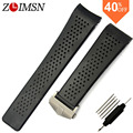 ZLIMSN Rubber Watchbands 22mm 24mm Sport Watch Bands Black Diving Silicone Holes Band Strap Stainless Steel Replacement Golden