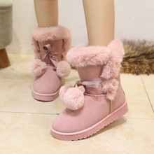 Women boots platform flat suede shoes 2017 trendy plush lace-up butterfly knot solid pink/gray/black winter snow boots
