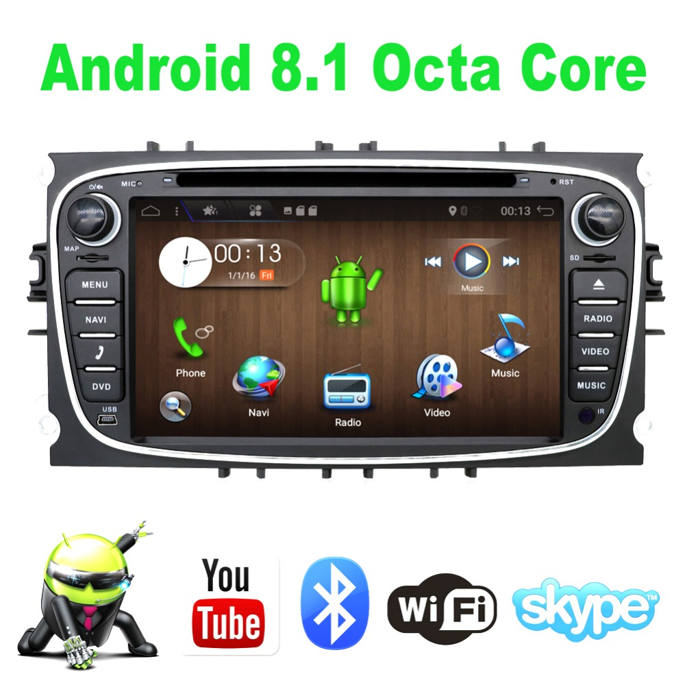 Octa Core 7'' 2 Din Android 8.1 1024*600 HD Car DVD Player For FORD Mondeo S-MAX Connect FOCUS 2 GPS Navigation Radio android 8 4 32gb car gps navigation dvd player radio isp screen for ford focus 2004 2011 ford mondeo focus s max kuga galax mk3
