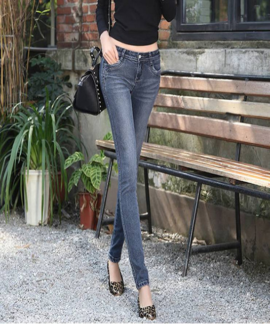 2016 fall New pattern Free shipping Blue black grey Korean female jeans thin cotton elastic denim pencil pants