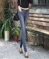 2016 outono Novo padrão Frete grátis Azul preto cinza Coreano calça jeans de algodão fino denim elástica calças lápis feminino