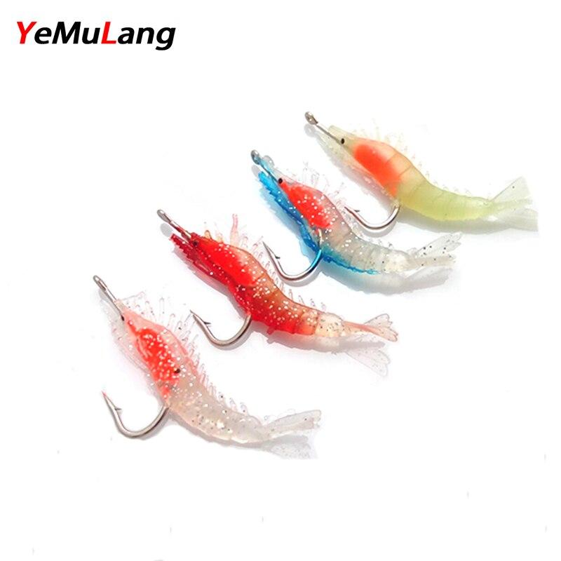 YeMuLang 3db 6cm 3g Fluoreszcens garnélarák puha mesterséges húst - Halászat