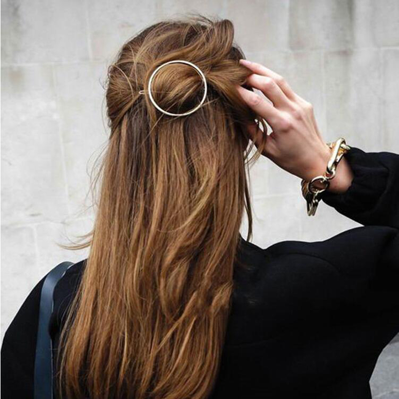 New Arrival Women Girl Hair Accessories Golden/ Silvery Color Circle Triangle Moon Lip Hairpin Hair Clip Popular Wedding